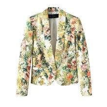 Новая Коллекция Весна Осень Верхняя Одежда Женщин Мода Цветочный Печати Короткие Блейзер Пальто Куртки Дамы Деловой Костюм Повседневная Цветочные Топы Кардиган