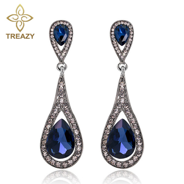 Treazy Navy Blue Crystal Drop Earrings For Women Fashion Jewelry Silver Plated Long Dangle Wedding