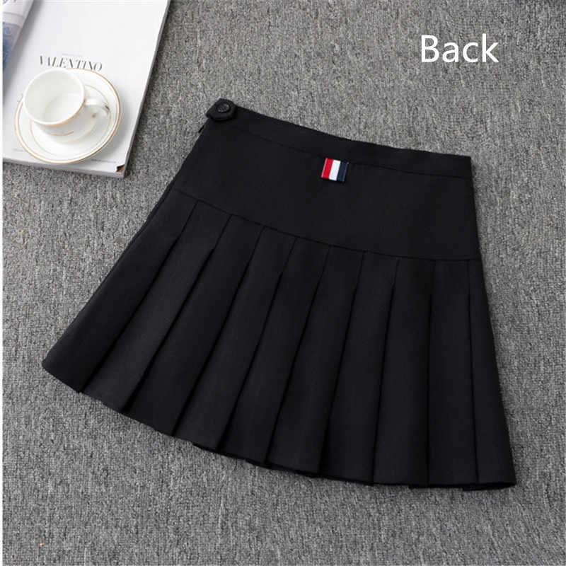 Dziewczęca spódnica do tenisa spódnica z wysokim stanem jednolita z wewnętrznymi spodenkami kalesony Badminton cheerleaderka 2 w 1 spódnica sportowa spódnica