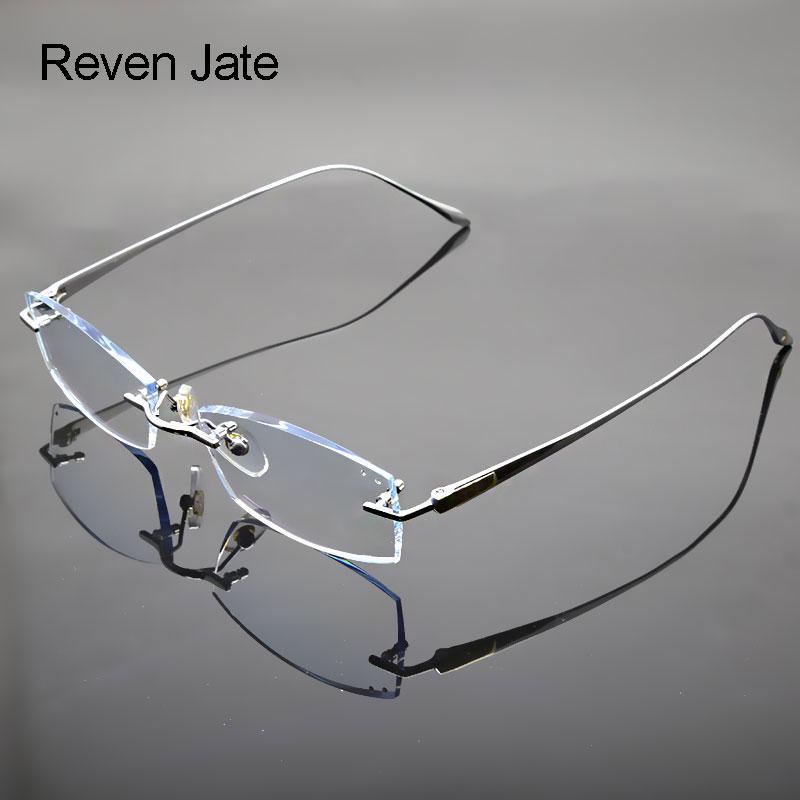 Brýle Reven Jate Rimless Brýle Titanium Frame Optical Uncut Edge Lens Nepředepsané oční brýle Frame Eyewear 8047