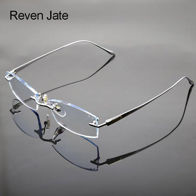 e7b5ec8d003 Reven Jate Glasses Rimless Eyeglasses Titanium Frame Optical Uncut Edge  Lens Non-Prescription Eye Glasses