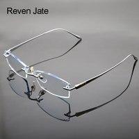 Reven Jate Glasses Rimless Eyeglasses Titanium Frame Optical Uncut Edge Lens Non Prescription Eye Glasses Frame Eyewear 8047