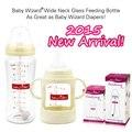 Assistente bebê Baby bottle feeding bottle wide neck vidro grande qualidade em forma naturalmente tetas com silicon mamilo alça