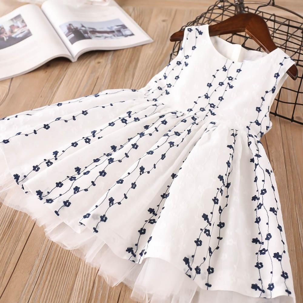 Hurave embroidery princess mesh tutu dresses New baby Girl clothes Children O-neck sleeveless dress print Kids Clothes