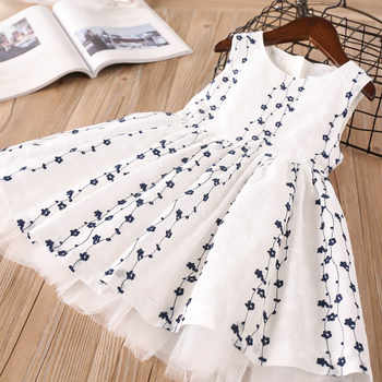 Hurave embroidery princess mesh tutu dresses New baby Girl clothes Children O-neck sleeveless dress print Kids Clothes - DISCOUNT ITEM  30% OFF All Category