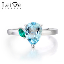 Leige Jewelry Proposal Ring Natural Aquamarine Ring March Birthstone Pear Cut Blue Gemstone 925 Sterling Silver Romantic Gifts
