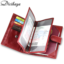 DICIHAYA Genuine Leather Women's Passport Cover Wallet Large Capacity Passport Holder Coin Purse Red Leather Wallets Card Holder купить недорого в Москве