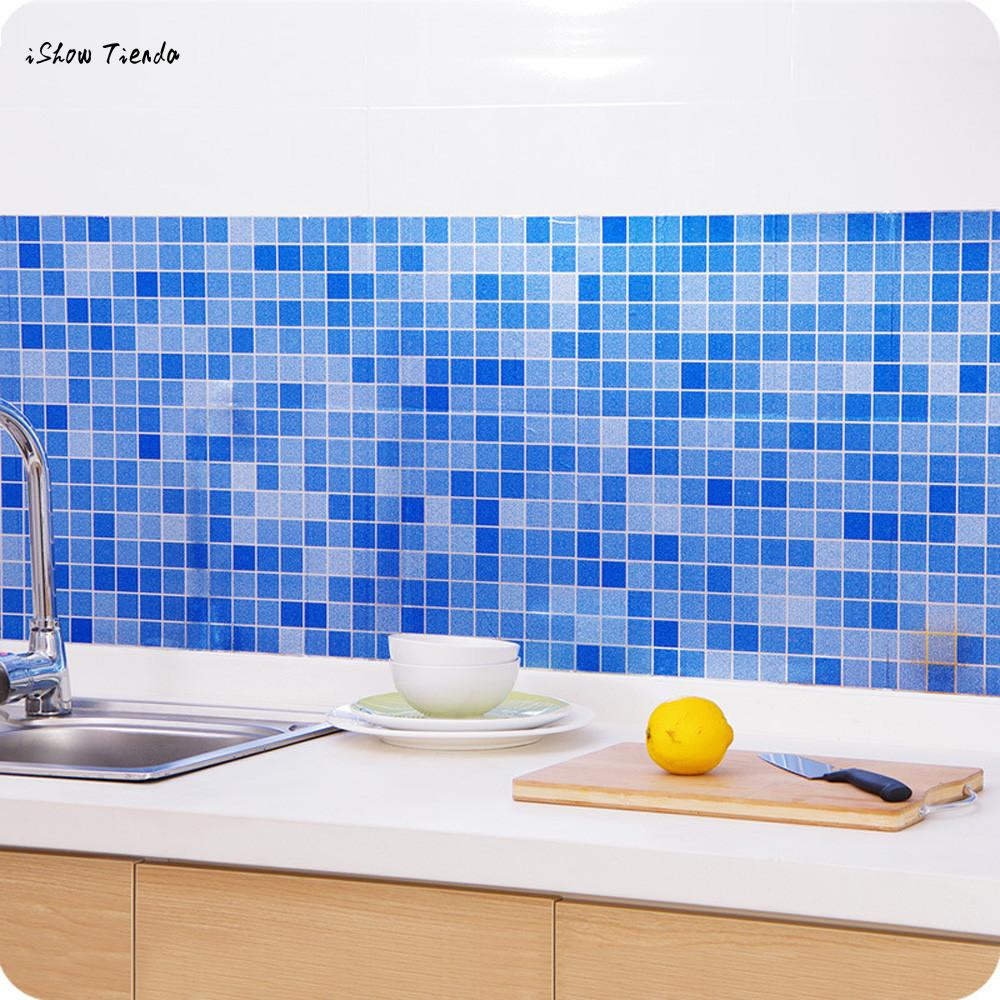 ISHOWTIENDA New 1pc 45cm*70cm The Bathroom Toilet Waterproof Self-adhesive Stickers Mosaic Tile Wallpaper New