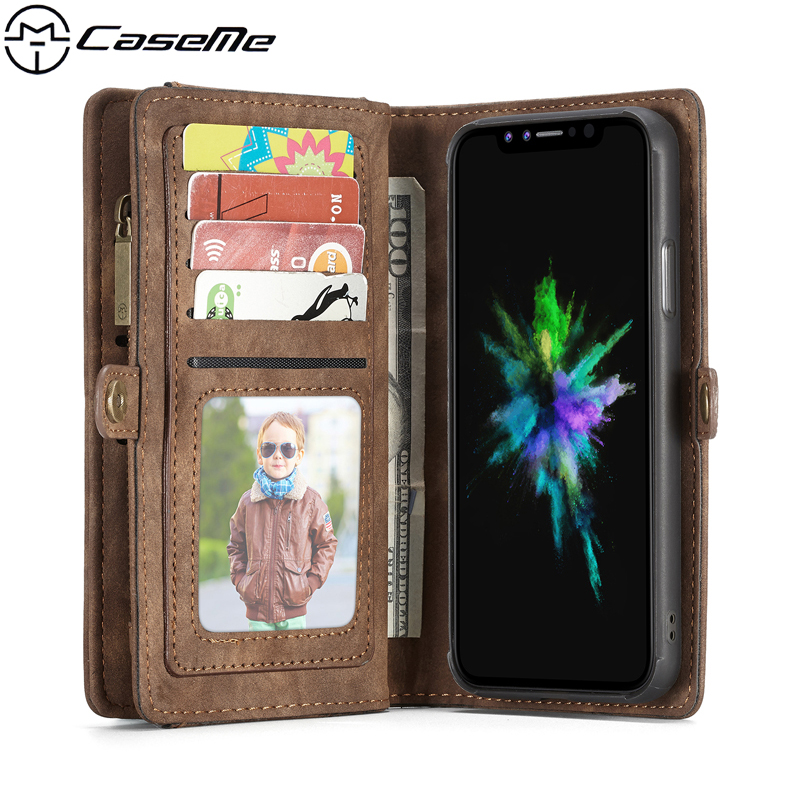 For iPhone X 10 6 6s 7 8 Plus 8Plus Retro Leather Case Zipper Wallet Card Multifunction Magnetic Phone Back Cover For iPhoneX