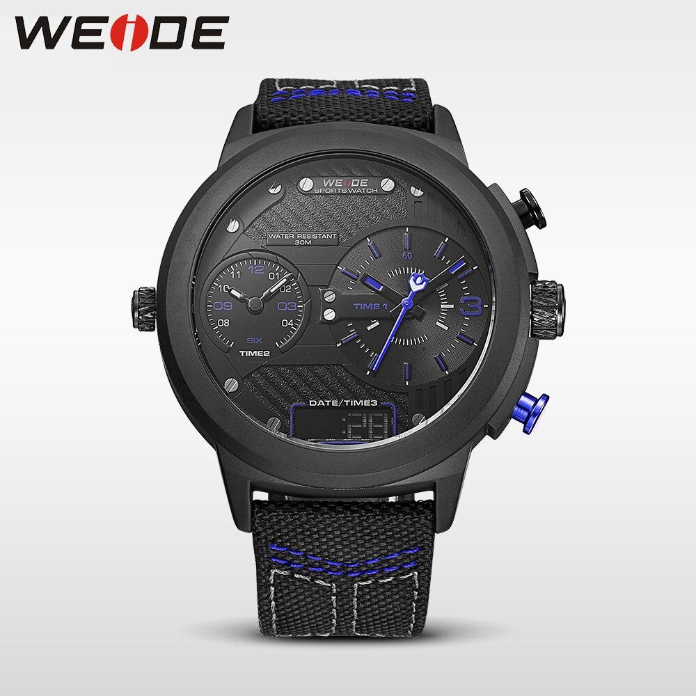 WEIDE 2017 nouveau sport noir grand disque mode décontracté multi-fuseau horaire montre de poche quartz marque de luxe analogique nylon bracelet montres