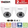 Tmezon 2*1200TVL 48 Leds CCTV Dome Camera 3.6mm Indoor Outdoor Night Vision 130ft Home Security Surveillance