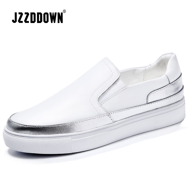 Women Leather Loafers ballet flats Shoes 2018 Spring sliver white Fashion Sneakers Woman Slip On loafers boat shoes Moccasins