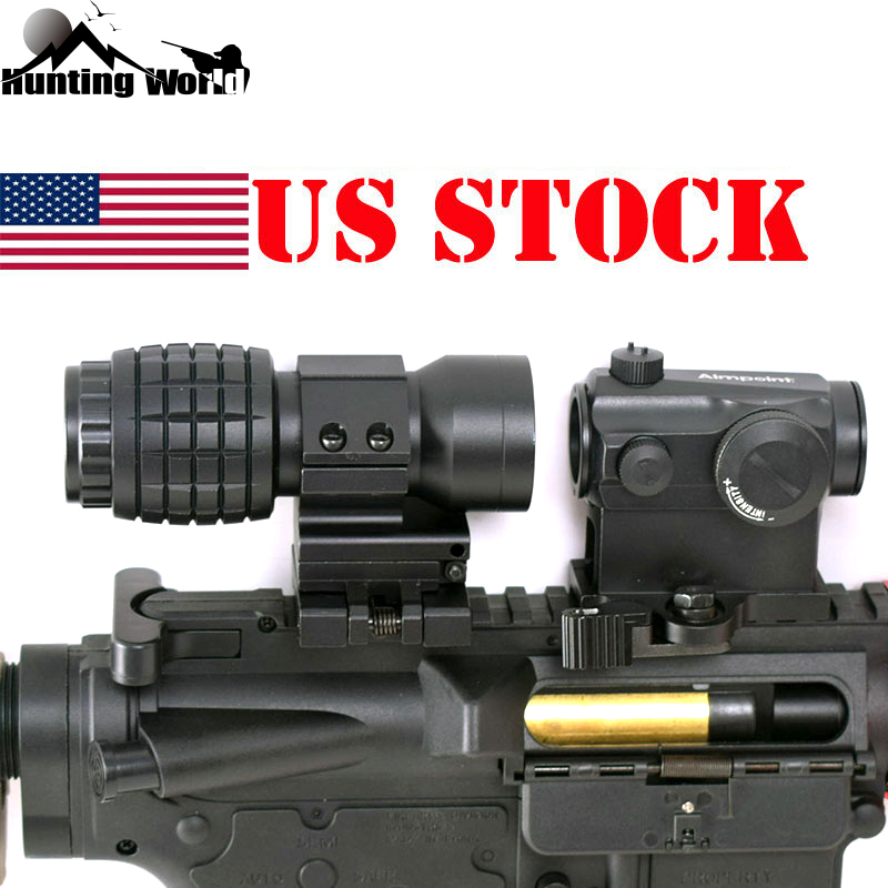 Tactical QD 3x Magnifier Riflescope Magnifying Sight Scope With Flip Up Mount Fit Red Dot Sight For Airsoft Rifle  Hunting Caza