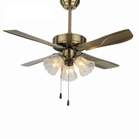 QUKAU European 42inch ceiling fan lamp retro LED dining room decoration ceiling fan with light iron fan lamp restaurant