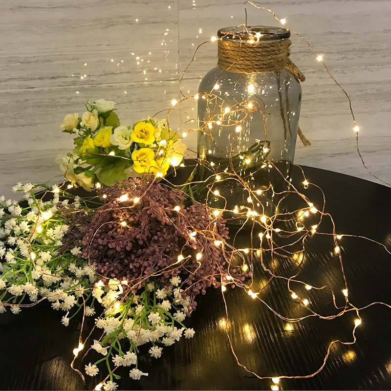 New 2M5M Battery Powered Copper Wire String Lights Indoor Outdoor Fairy Led Light for Xmas Garland Party Wedding Decoration liweek 0 4w 10lm 100 led rgb solar powered xmas party indoor outdoor fairy string light 17 meter