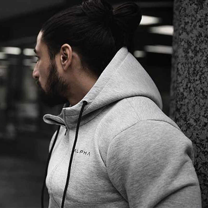 Mens Alpha Hoodies Zipper Casual Tracksuit Pocket Hooded Sweatshirt Oversized Men 2019 Black White Soild Streetwear Hip Hop