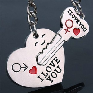 Novelty Casual Couple Love Keychain Cartoon Key Chain Lovers Key Ring Women Wedding Jewelry Accessory Valentines Gift