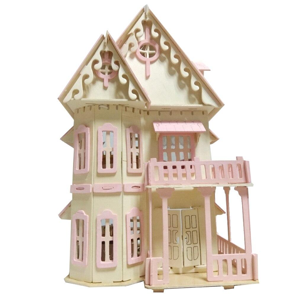 IiE CREARE In Miniatura Casa Delle Bambole Christma Famiglie Puzzle Di Mobili Casa di Bambola di Legno Fai Da Te Kit Ville Giocattoli per I Bambini Regali Di Compleanno