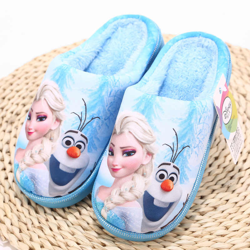 New Anan Elsa Shoes Girls Slippers Home Cartoon Winter Shoes Kids Snow Queen 3D Plush Slippers High quality winter warm shoes