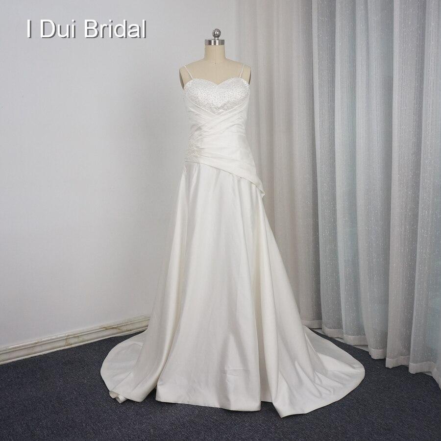 Heart Shape Beach Wedding Dresses Custom Make Western Corset A line Spaghetti Strap Crystal Beaded