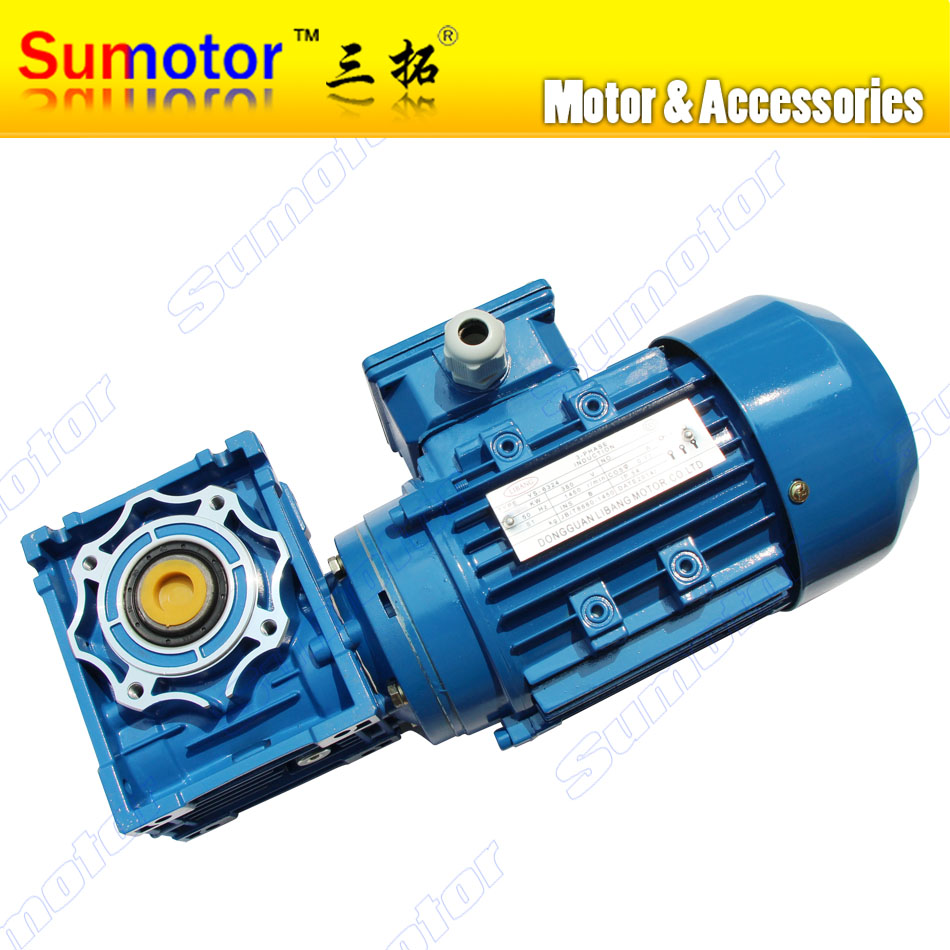 0.75kW AC 220V 380V 3 phases worm gear motor low speed large torque for Industrial Stir Mixing Lifting and Honey extractor