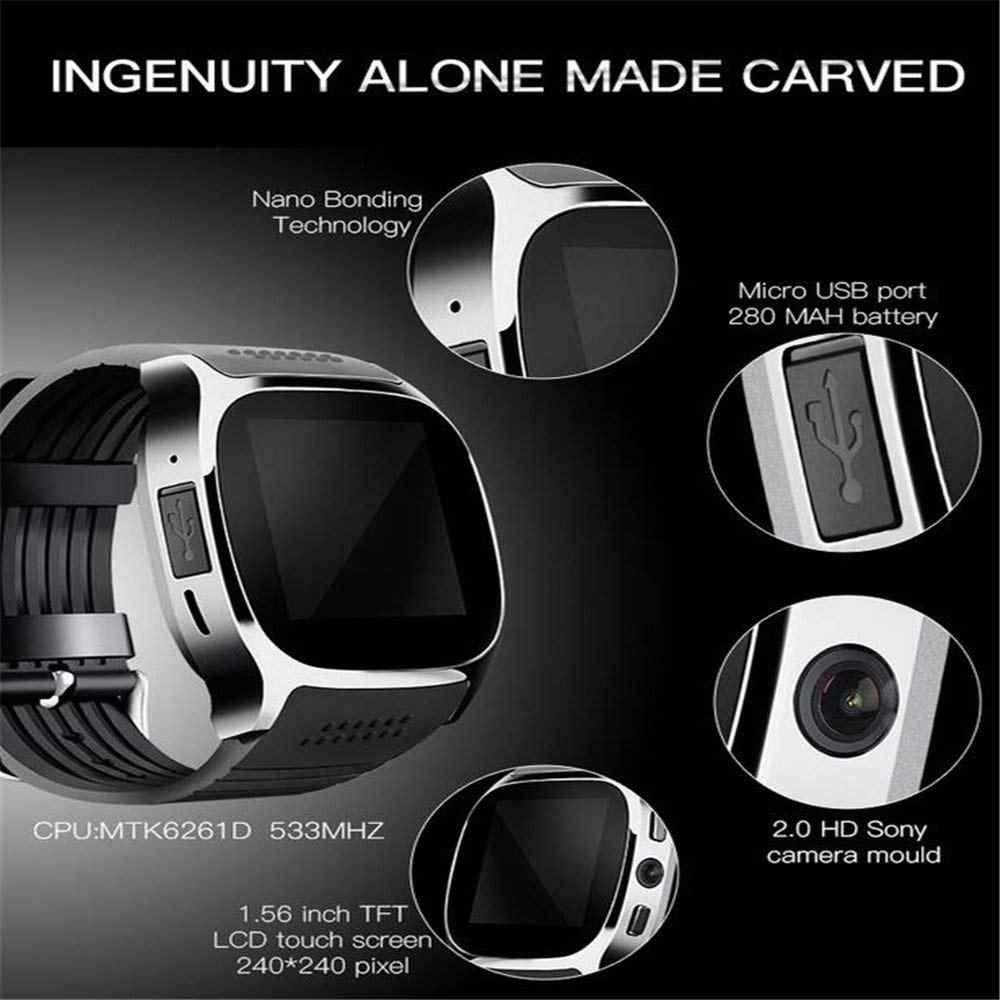 K6 Bluetooth Smart Watch Camera Facebook Whatsapp Support 2G SIM TF Card  Call Smartwatch for Samsung Galaxy S9 Plus PK Q18 DZ09
