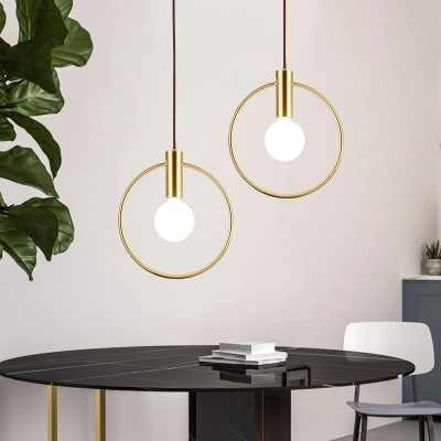 Modern Simple Led Hanging Lamp Ring Iron Round Pendant Light Fixture Bedside Shop Restaurant Droplight Golden Lighting Fixuture