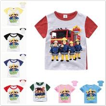 f3b289d8a Nowe dziecko chłopców ubrania dla dzieci Cartoon strażak Sam koszulki z krótkim  rękawem dziewczyny z krótkim