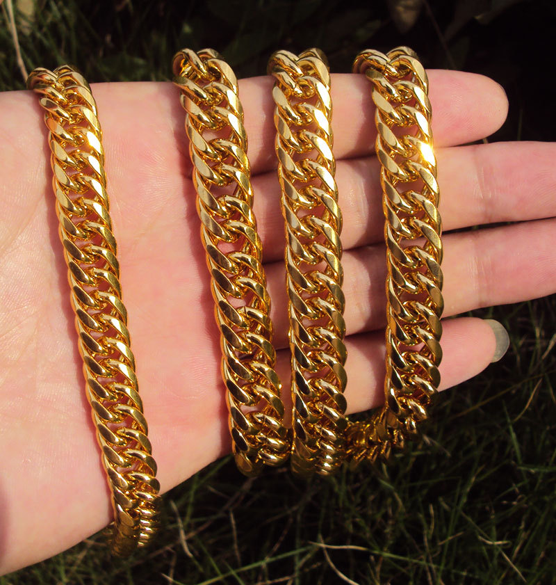 MENS HEAVY GOLD GF CUBAN LINK CHAIN BRACELET NECKLACE SET Real people - Fashion Jewelry - Photo 5