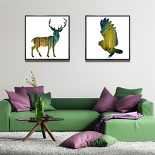 Фотография YongHe Nordic style Home Decorative Oil Painting Elk and eagle Customizable Sizes Spray Painting wall deco Frameless ink Poster