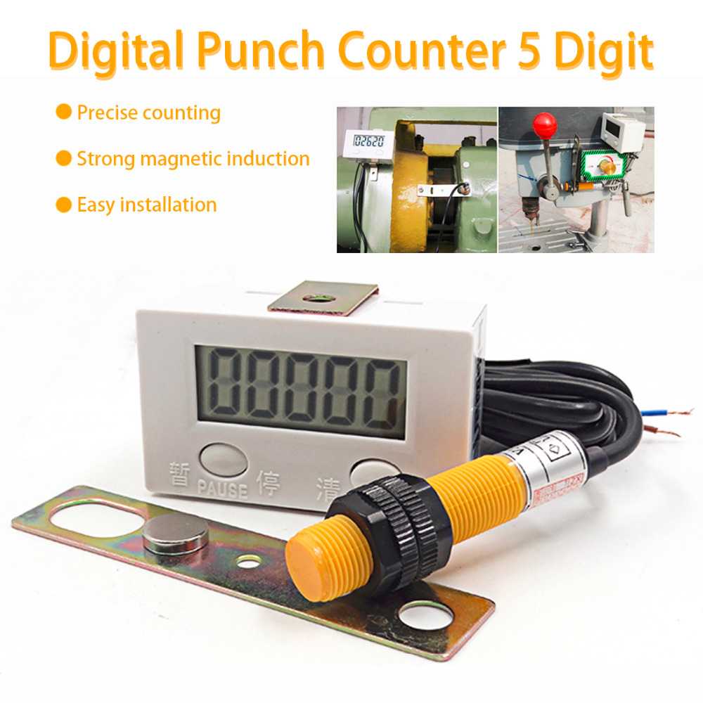 0-99999 LCD Digital Display Electronic Counter Punch Magnetic Induction Proximity Switch Reciprocating Rotary Counter