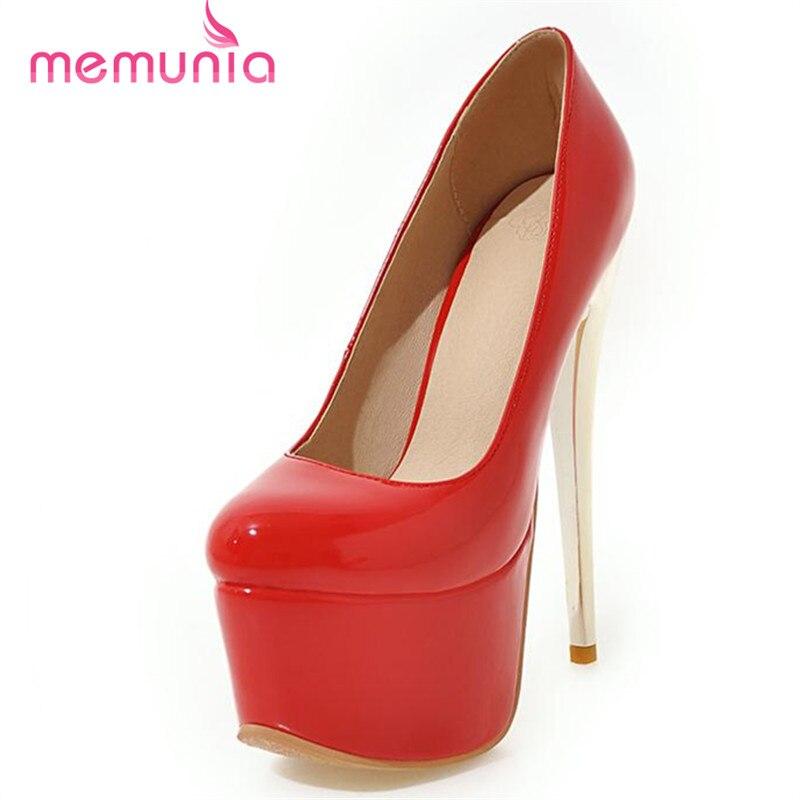 Memunia/тонкая обувь на высоком каблуке 16 см на платформе туфли обувь для вечеринок Свадебные пикантные элегантные однотонные женские туфли-ло...