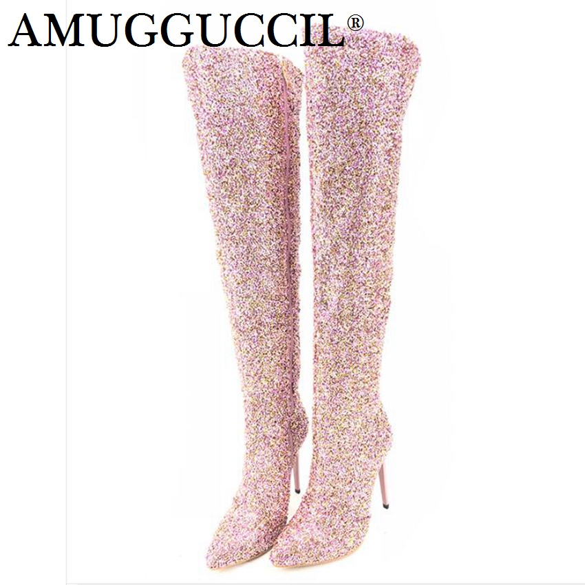 2018 New Plus Big Size 33-43 Pink Rose-red Apricot Bling Zip Thigh High Heel Sexy Over The Knee Autumn Winter Women Boot X1710