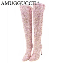 Buy sequin sexy boots high heels and get free shipping on AliExpress.com 2e3820c7a1ae