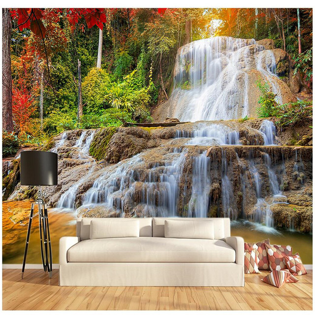 3D Wall Painting custom painting for living room maple forest rock falls art photos