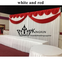 Wedding Backdrop With SwagsWedding Curtain 3M*6M Free Shipping White & Red