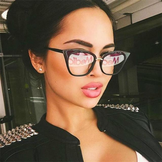 b44f57db14 Cat Eye Glasses Ttransparent Female Clear Lens Fake Glasses Womens Retro  Eyeglass Frames Acetate Optical Prescription Eyewear