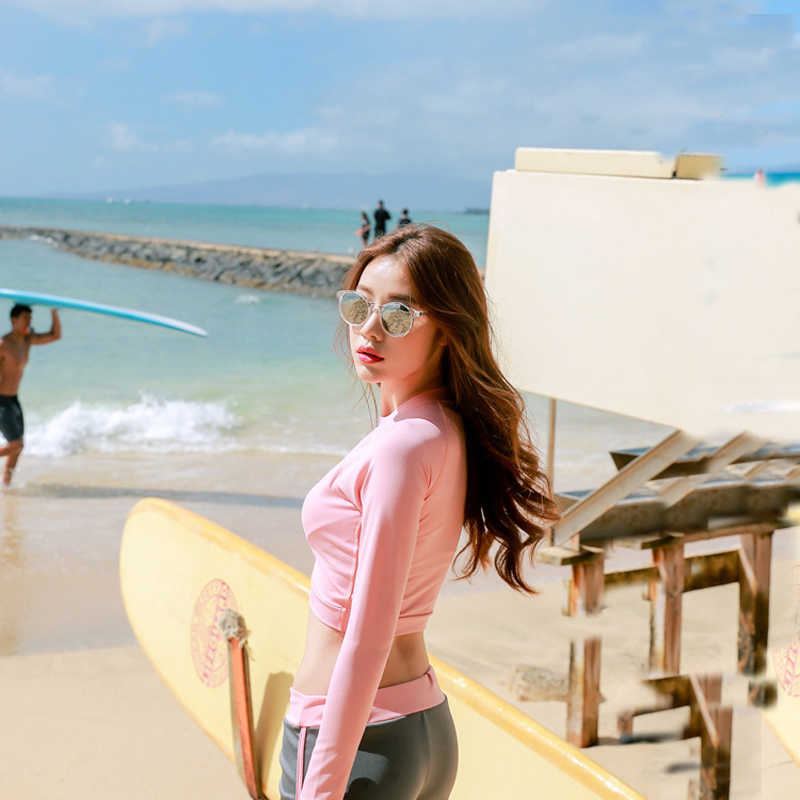 Wanita Pakaian Renang Lengan Panjang Tanaman Ruam Penjaga Set 2 Pcs Atas dan Bawah Pink Perlindungan Sinar UV Matahari Rashguards pantai Bathingsuit