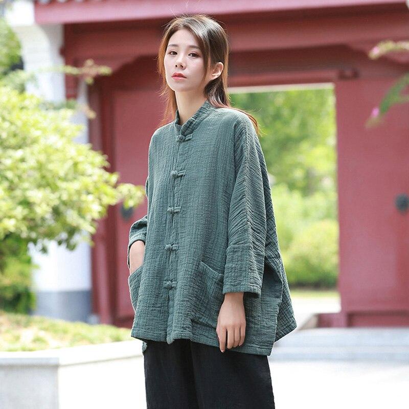 Women Cotton Linen Shirts Stand Vintage Blouses Solid Color Tops Autumn New Plus Size Women Cloths Quality Shirts