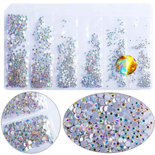 Hisenlee 1680pcs 28 Colors SS3-SS10 Small Sizes Nail Art Crystal Glass Rhinestones For Nails 3D Decoration Gems