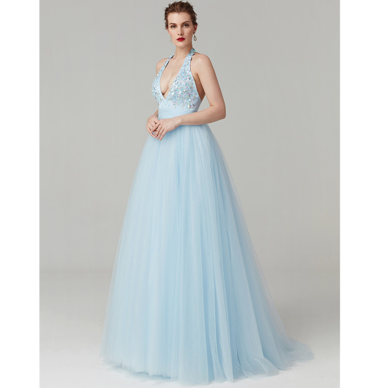 TS Couture A-Line Princess Plunging Neckline Sweep / Brush Train Satin Tulle Cocktail Party / Graduation/ Holiday Dress
