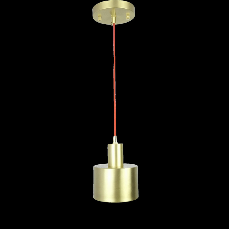 All brass single head hanging light fixture Nordic minimalist personalized art Restaurant 100% copper material pendant lamp new bullet head bobbin holder with ceramic tube tip protecting lines brass copper material