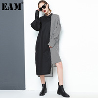 EAM 2018 New Spring Summer Lapel Long Sleeve Side Black Striped Split Joint Big Size