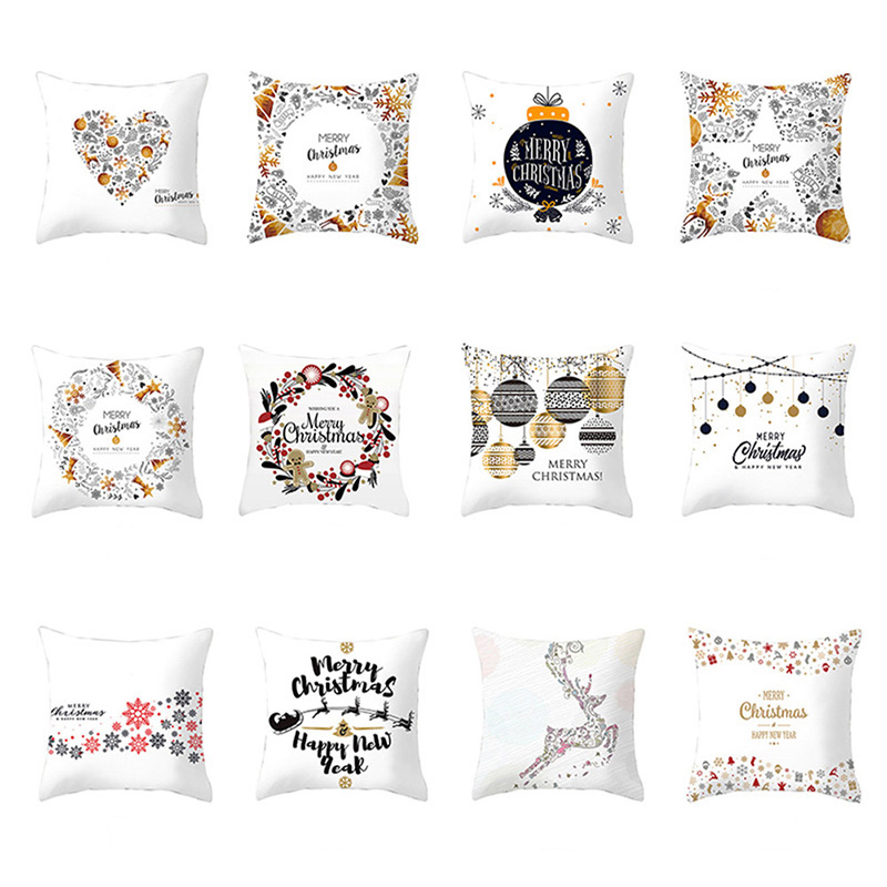 Christmas Cartoon Decorative Pillowcase Durable Christmas Home Decorative Supplies Xmas Santa Claus Elk Snowman Pillow Cover