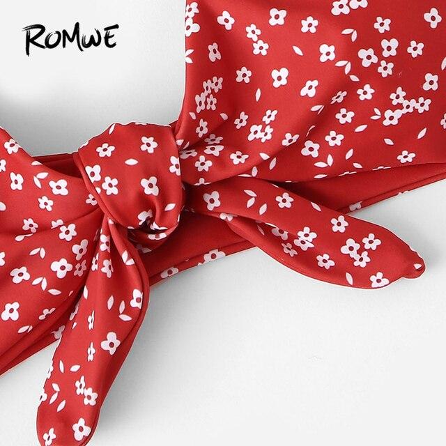 Romwe Спорт Красный бязь цветочный принт узел спереди бикини набор глубокий v-образный вырез Низкая посадка сексуальные летние женские пляжны... 4
