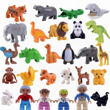 Legoing Duplo Animals Family Panda Dog Elephant Penguin Jurassic Dinosaurs Large Size Building Blocks Toys for Children Duplo(China)