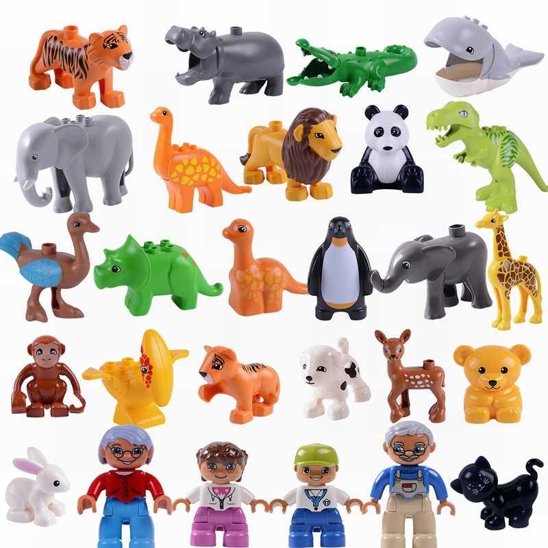 Legoing Duplo животные семья панда собака слон Пингвин Динозавры юрского периода большой размер строительные блоки игрушки для детей Duplo
