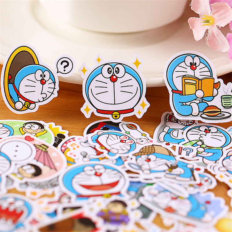 35 PCS mini Cartoon blue robot  Paper Stickers Crafts And Scrapbooking stickers kids toys book Decorative sticker DIY Stationery