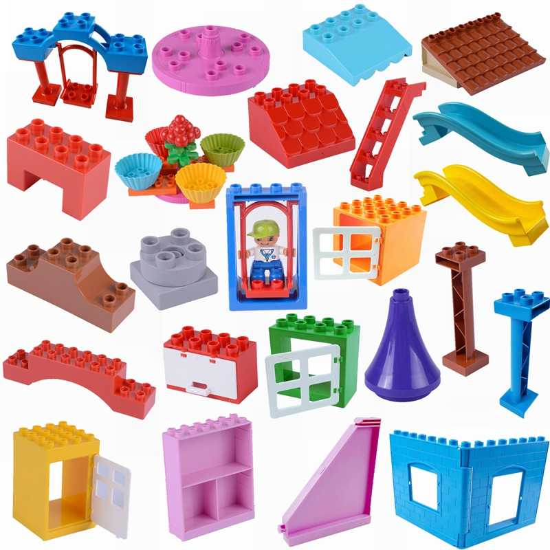 Legoing Duplo Accessories Roof Wardrobe Windon Big Bricks Single DIY Building Blocks Toys for Children Compatible Duplo Legoing