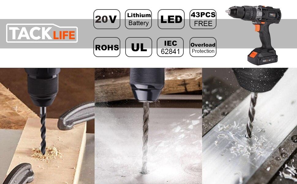 Tacklife PCD04B 20V MAX 2 0Ah Lithium-Ion 1/2